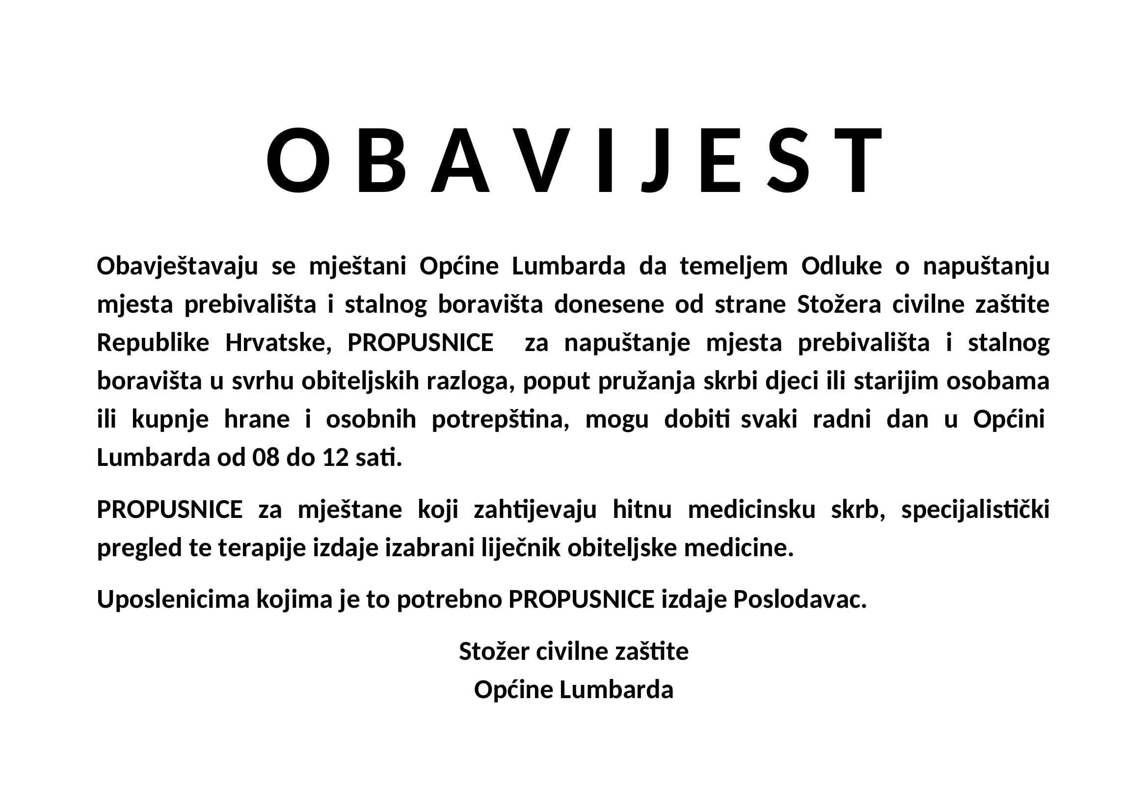 O B A V I J E S T propusnice-1